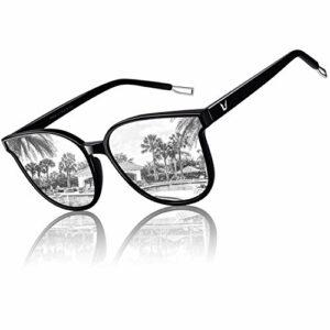 CGID Mode lunettes de soleil polarisées rondes surdimensionnées pour femmes Retro Ladies Eyewear 100% UV400 Shades Noir Cadre Argenté Lentille M58