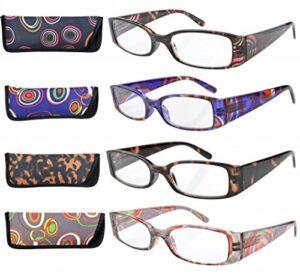 eyekepper 4 Paires lunettes de lecture rectangulaires à charnière à ressort pour femmes +1.50