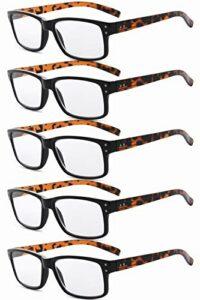 Eyekepper Lunettes pour hommes non grossissantes – Pack de 5 lunettes noires avec branches en tortue pour hommes Lunettes pour femmes
