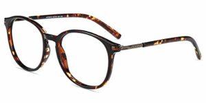 Firmoo Lunettes lumineuses bleues pour femme, lunettes filtre anti-fatigue anti-lumière bleue et anti-UV400 ordinateur de lunettes monture TR90 pour protection des yeux, Tortue, M
