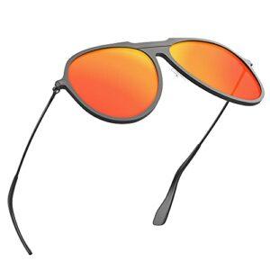 Fitfirst Lunettes de soleil polarisées pour hommes, 100% anti-UV, monture ultra-légère en Al-Mg, lunettes de soleil HD pour la conduite, activités de plein air (Noir, Rouge)