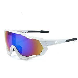 Gosunfly Lunettes de vélo pour sports de plein air encens miroir lunettes de soleil-NO.4 cadre blanc feuille bleu vert