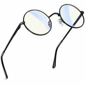 Joopin Lunettes Rondes Femme Anti Lumière Bleue et Lunette d'Ordinateur Anti Fatigue, Lunette Anti Reflet Anti UV en Métal Fine Vintage Noir