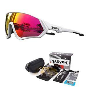 KAPVOE Lunettes de cyclisme polarisées avec 5 lentilles interchangeables pour hommes femmes Plein écran TR90 Léger MTB Sports Cycling Sunglasses 08