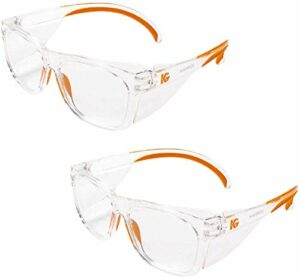 Kleenguard Maverick 49301 Lot de 2 paires de lunettes de sécurité avec protections latérales intégrées Verres antibuée transparents avec monture transparente et embouts oranges