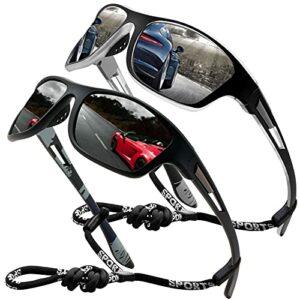 Lunettes de soleil polarisées pour hommes femmes/Cool Fishing Golf Cyclisme Le golf Conduite Pêche Escalade Ancien Lunettes Sports de plein air des lunettes de soleil (2 PACK (black/silver))