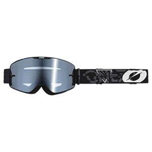 O'NEAL | Lunettes de vélo et de motocross | MX MTB DH FR Downhill Freeride | Sangle réglable, confort et ventilation optimaux | Lunettes B-20 Strain V.22 | Adulte | Noir Blanc Miroir | Taille unique