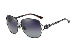 Perfectmiaoxuan Lunettes de soleil surdimensionnées pour femme – Mode rétro – Léger – Monture large – Protection UV400 – Pour femme – – Noir 【Alliage】,