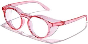 Safety Glasses eye goggles Pollen Safety Glasses Anti-pollen and Hay Fever Goggles Anti-fog Protection Protective Clear Goggles Safety Goggles for womens Mens-Pink