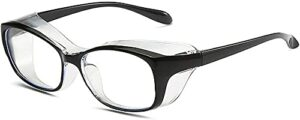 Safety Goggles Anti-Fog Tactical glasses with Side Shields Clear Safety glasses with Anti-Scratch UV400 protection Lens Goggles Inside Eyeglasses-Black