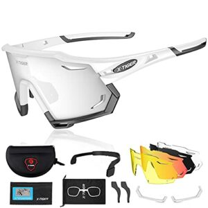 X-TIGER Lunettes de Cyclisme Polarisées Pour Hommes, Lunettes de VTT avec 3 Lentilles Interchangeables Anti-UV400, Lunettes de cyclisme pour le vélo, la course à pied, la conduite, la pêche (xts06-5)