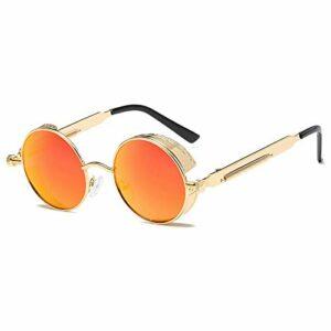 Youmine Lunettes de Soleil Rondes en Métal Hommes Femmes Lunettes de Mode Rétro Vintage Lunettes de Soleil Uv400 (Or + Orange)