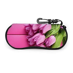 Yuanshan Étui à lunettes Summer Tulips Étui à lunettes ultra léger en néoprène avec fermeture à glissière, sac à lunettes de protection souple avec mousqueton pour femmes et hommes