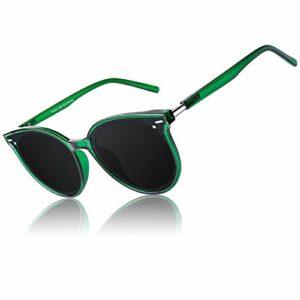 CGID Designer Lunettes de soleil polarisées rondes surdimensionnées pour femmes Lunettes de vue rétro pour femmes 100% UV400 Nuances Vert transparent Cadre Gris Lentille M60