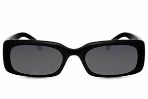 Cheapass Lunettes de soleil Sunglasses Larges Design Rétro Vintage pour Femmes Monture Noire avec Verres Foncés Protection UV400