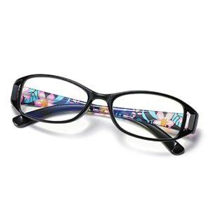 DDZHE Lunettes de lecture rétro 2.5 Lunettes de mode pour hommes, femmes, charnières à ressort confort cadre noir, lunettes de lecture, anti-éblouissement
