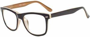 eyekepperLunettes de lecture pour femmes hommes avec de grands verres carrés et des charnières à ressort Noir-Marron +0.50