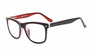 eyekepperLunettes de lecture pour femmes hommes avec de grands verres carrés et des charnières à ressort Noir-Rouge+0.50