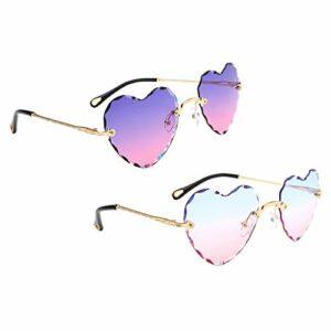 F Fityle 2X Lunettes de Soleil en Forme de Coeur pour Femmes Rétro Classique Lunettes Teintées UV400