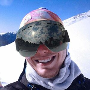 FANPING Lunettes de ski et de snowboard anti-buée, protection UV, sans cadre, compatibles avec les casques (Couleur : noir)