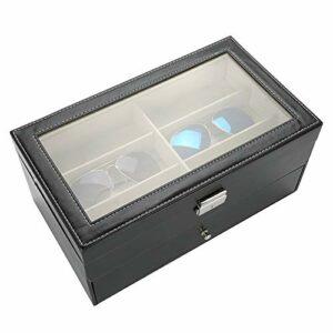 Faviu Vitrine de Lunettes, boîte de Rangement de Lunettes, Portable pour Lunettes Femmes Hommes Bijoux