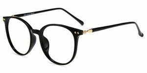 Firmoo TR90 Lunettes lumineuses bleues pour femme, lunettes filtre anti-fatigue anti-lumière bleue et lunettes bloque la lumière bleue contre UV400 Ordinateur de lunettes rond classique, Noir , L