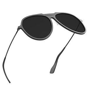 Fitfirst Lunettes de soleil polarisées pour hommes, 100% anti-UV, monture ultra-légère en Al-Mg, lunettes de soleil HD pour la conduite, activités de plein air (Noir, Gris Noir)