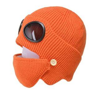 GDYJP Femmes Hommes 2 en 1 Bonnet tricoté côtelé Bonnet Bouche Masque Masque Ensemble Hiver Ski Chaleureux Ski Ski Ski Bouffetté Bouchon oreillette avec Lunettes Lunettes (Color : Orange)