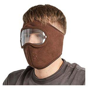 GDYJP Masque de Visage antidouche Coupe-Vent, Cyclisme Masques Respirants de Ski de Molleton Bouclier Anti-Brouillard antibrouillard (Color : Brown, Taille : One Size)
