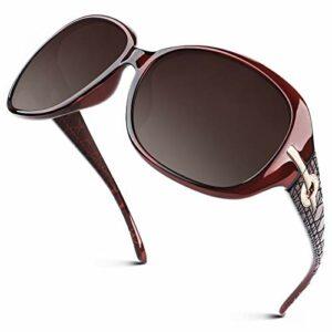 GQUEEN Lunettes de Soleil Femme Polarisées surdimensionnées Protection UV400 Style vintage tendance