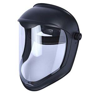 Harilla Visage Bouclier Casque Masque w/Visière Claire À Cliquet Sécurité Broyage, construit-dans chin protection et supérieur – Anti-Brouillard Masque