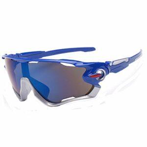 JFSZZ Lunettes Cyclisme Lunettes Anti-UV Sports de Plein air Lunettes de Soleil for Equitation Alpinisme Pêche Vélo Courir (Color : Blue, Eyewear Size : One Size)