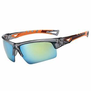 JFSZZ Lunettes de soleil unisexes pour cyclisme, équitation, course, sports HD UV400 Mtb – Lunettes de cyclisme pour extérieur, vélo de route, VTT – Couleur : gris et orange