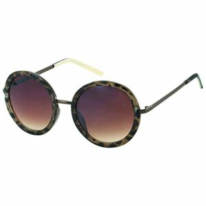 Kost Lunettes de soleil pour femme 100 % protection UV UV400 – Verres ronds surdimensionnés – Beige – beige, Taille unique EU