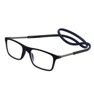 Les lunettes de lecture magnétiques bloquant la lumière bleue sont réglables, accrochées autour du cou, adaptées à la lecture par les hommes et les femmes (Color : 4, Size : +1.5)