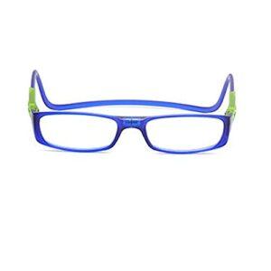Les lunettes de lecture magnétiques bloquant la lumière bleue sont réglables, adaptées à la lecture par les hommes et les femmes, accrochées autour du cou (Color : Dark blue, Size : +2.0)