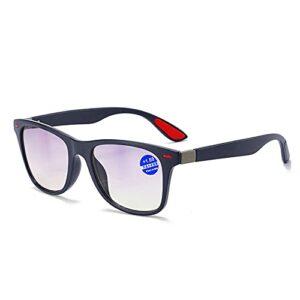 Lunettes de lecture bloquant la lumière bleue, lecteurs d'ordinateur de mode, lunettes claires anti-UV, miroir de lecture bifocal progressif avec charnière à ressort pour femmes hommes,C,1.5x
