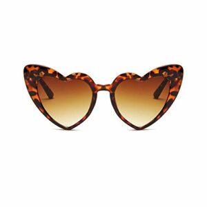 Mode En forme de coeur Lunettes de Soleil Femme Vintage Brilles Femmes Hommes Brun Foncé Et Tawny