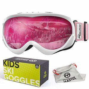 OutdoorMaster Masque de Ski pour Enfants Lunettes Compatibles avec Un Casque pour Garçons et Filles avec Une Protection UV à 100% (White-Pink Frame + VLT 46% Pink Lens)