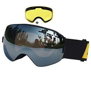 PVDR Lunettes De Ski Double Couche Anti-buée UV400 Lunettes De Ski Sphériques Ski Neige Lunettes De Snowboard Lunettes De Ski Lentille Éclaircissante (Color : D)