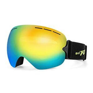 QIN Ski Snowboard Snow Goggles Design OTG pour Hommes Femmes Lentille Détachable Sphérique Protection UV Anti-buée