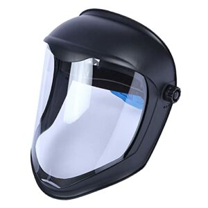 Sharplace de Casque de Protection Faciale avec Visière Transparente Housse de Protection Anti-buée Meulage de Sécurité, Protège Contre Les Chutes Ou Les – Masque Double Bandeau