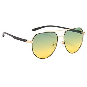 Sharplace lunettes de Soleil Carré lunettes de Soleil Polarisées pour Hommes Sport Course à Pied Cyclisme Conduite Lunettes Léger UV400 Bloc Polygone – Noir or
