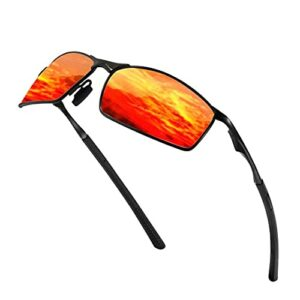 Sunmeet Lunettes de Soleil Hommes Lunettes de sport polarisées – Lunettes de conduite avec monture en métal pour Hommes et Femmes S1008(Z-Orange/Noir)
