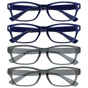 The Reading Glasses Company La Société Lunettes De Lecture Bleu Foncé Gris Lecteurs Valeur Pack 4 Hommes Femmes RRRR77-3377 +2,00