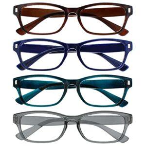 The Reading Glasses Company La Société Lunettes De Lecture Brun Bleu Foncé Aigue-Marine Gris Lecteurs Valeur Pack 4 Hommes Femmes RRRR77-23Q7 +1,50