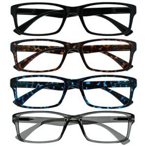 The Reading Glasses Company La Société Lunettes De Lecture Pack 4 Lecteurs Noir Brun Bleu Gris Designer Style Hommes Femmes RRRR92-1237 +3,50