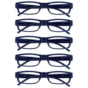 The Reading Glasses Lunettes de Lecture Foncé Bleu Valeur Set de 5 Léger Hommes Femmes RRRRR32-3 +1,50
