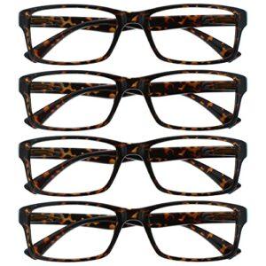 The Reading Glasses Lunettes de Lecture Marron Écaille Lecteurs Valeur Set de 4 Designer Style Hommes Femmes RRRR92-2 +1,50