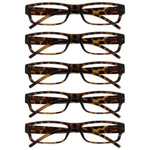 The Reading Glasses Lunettes de Lecture Marron Écaille Valeur Set de 5 Léger Hommes Femmes RRRRR32-2 +1,50